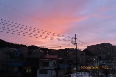 ふじみ野市西鶴ケ岡地区から見られた素晴らしい夕焼け