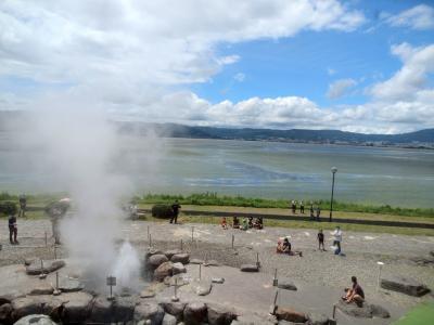 夏の信州旅No.1 中央道通行止めでどうする?「くらすわ」でランチ 諏訪湖と間欠泉と麗人酒造