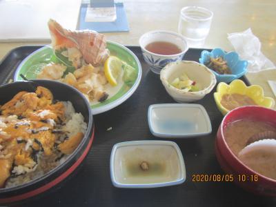 「民宿青塚食堂」で美味しいものを味わい、「祝津 青の洞窟 グラスボート」綺麗な景色を味わう