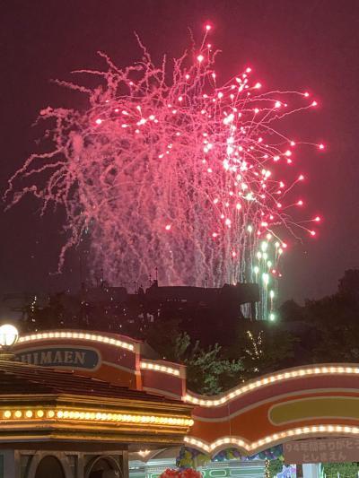 2020,8月 ステイ東京の夏 としまえん入場ゲート前で見た花火