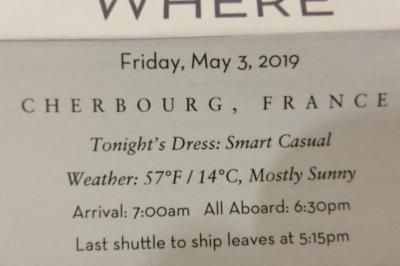 26泊Zuiderdam★3★Friday, May 3  Cherbourg, France