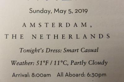 26泊Zuiderdam★4★Sunday, May 5 Amsterdam, Holland
