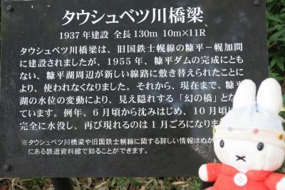 グーちゃん、「GO TO」で、帯広へ行く!(北海道遺産タウシュベツ川橋梁!編)