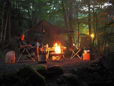 初キャンプ 道志村の夜は更けてゆく