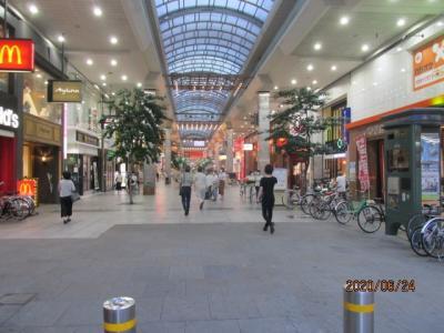 愛媛(伊予一国)ドライブ巡礼(55)松山大街通アーケードを見て、帰館。