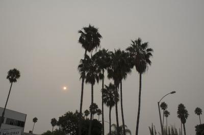 山火事の煙が漂うロサンゼルスの海沿いを散歩