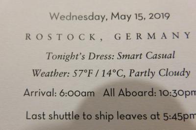 26泊Zuiderdam★11★Wed, May 15  Rostock, Germany