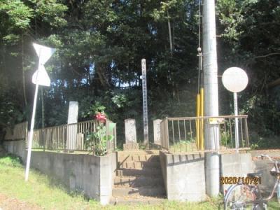 柏市の旧沼南町・鷲野谷・バス停前・庚申塔・染谷家墓地