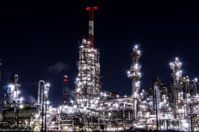 キラキラ爆発の四日市工場夜景