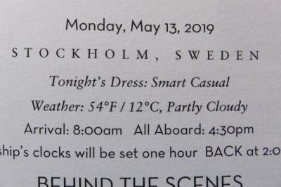 26泊Zuiderdam★10★Mon, May 13 Stockholm, Sweden