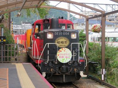 秋の京都(6)嵯峨野トロッコ列車はガラガラ。美しい保津川の眺めを左右自由に席を移動して