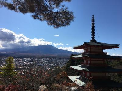 秋の紅葉と富士山 甲州の旅