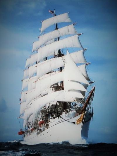 横浜21 帆船 日本丸 満船飾(文化の日)晴れ姿 ☆国際信号旗を掲揚/総帆展帆の写真も