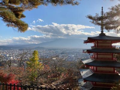 秋の絶景 富士山&五重塔の新倉富士浅間神社、北口本宮冨士浅間神社