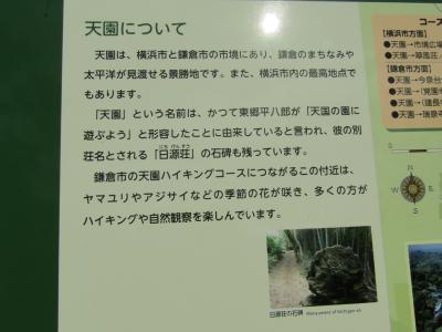 峠の茶屋跡(天園)の横浜市設置看板-2020年秋
