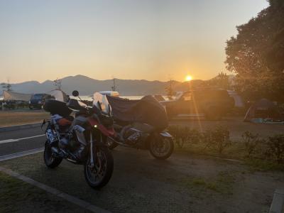 福良でバイクキャンプ