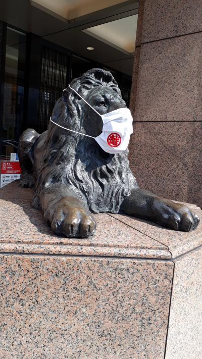 ヒカリエの上の渋谷区役所は遅くまであいていて便利なのです。銀座三越前のライオンさんはマスク着用していた