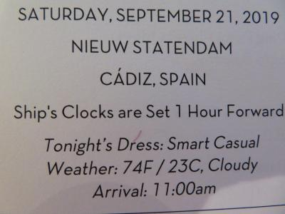 22泊 Nieuw Statendam★4★Sat, Sep 21Cadiz, Spain