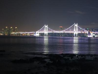 韓国・釜山3日間の旅(1)釜山へ、海雲台・冬柏公園(夜間)