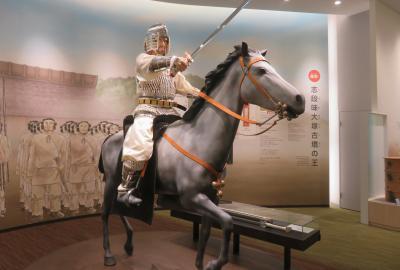 2020秋、しだみ古墳群ミュージアム(2/4):10月31日(2):古墳時代の王の騎馬像再現、鈴鏡、鉄製品、弓矢、埴輪