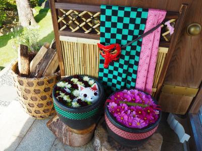 また川越の最明寺へ、流行りのアニメキャラをイメージした花手水を見に行ってみました