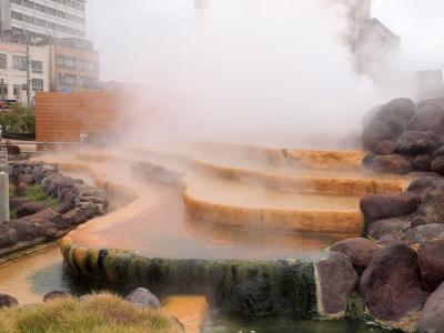 秋の長崎1人旅No.6湯けむりに包まれた小浜温泉 「海鮮市場蒸し釜や」でランチ 日本一長い足湯を楽しもう