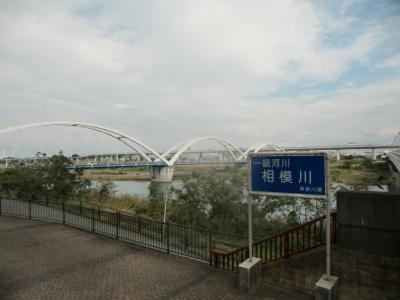 神奈川県中央部を流れる相模川に架る厚木市と海老名市を結ぶ相模大橋の近傍を散策