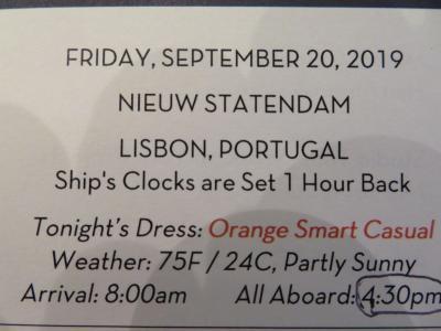 22泊  N Statendam★3★Fri, Sep 20 Lisbon, Portugal