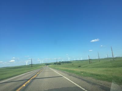 サウスダコタ州 ホワイト ー ミネソタ州との州境で、風力発電をしています。