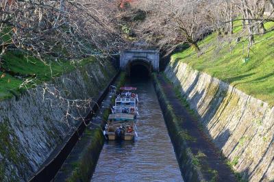 紅葉のびわ湖疏水船で、滋賀の三井寺から京都蹴上へ