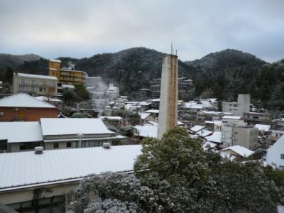 雪になった有馬温泉