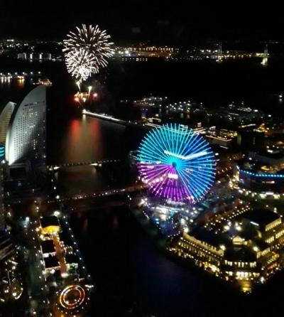 2021年お正月横浜みなとみらいで花火鑑賞―ホテルからの素晴らしい夜景