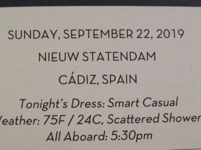 22泊 Nieuw Statendam★5★8日目Sun, Sept22 Cadiz, Spain