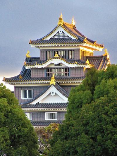 四国⑱ 上りのサンライズ乗車前に岡山城と岡山後楽園を訪れ、季節限定紅葉ライトアップも見る(前編)