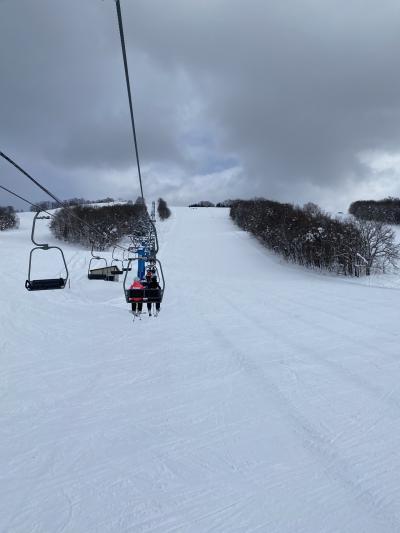比布スキー場でスキー