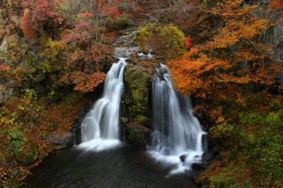 ◆錦織りなす羽鳥湖高原'明神滝&夕焼けの那須連峰と釈迦堂川