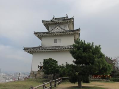 四国霊場最後の巡礼(61)丸亀城(亀山城)天守閣と讃岐富士。
