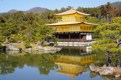 20210205-1 京都 冬晴れの鹿苑寺。金閣、舎利殿が新品に金ピカですなぁ。