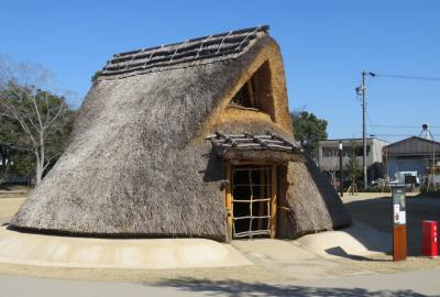 2021早春、あいち朝日遺跡(1/6):2月6日(1):上小田井駅から歩いて朝日遺跡へ、竪穴式住居、高床倉庫、貝塚
