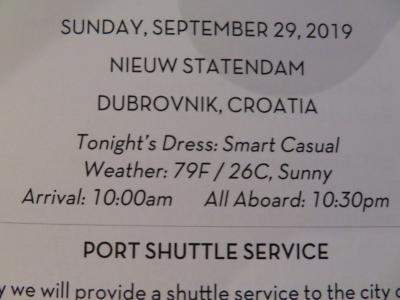 22泊 N Statendam★10★  15日目Sun, Sept 29Dubrovnik, Croatia
