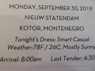 22泊 N Statendam★11★16日目Mon, Sept 30 Kotor, Montenegro