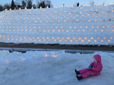灯の回廊と冬の海~小2年中連れ雪遊びの旅~