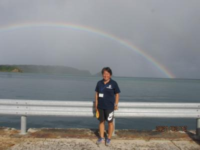 12年ぶりの石垣島(20)西表の白浜の海に掛かる虹。