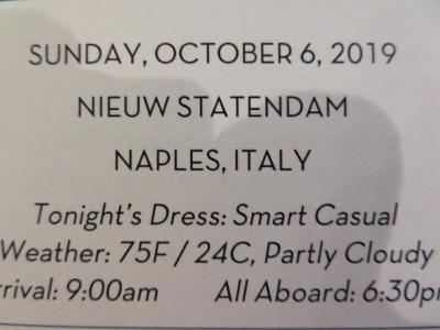 22泊 N Statendam★16★22日目Sun, Oct 6 Naples, Italy