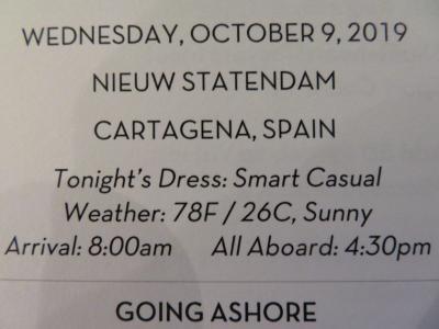 10泊 N Statendam★1★3日目Wed, Oct 9Cartagena, Spain