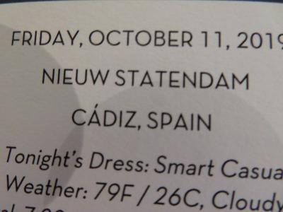 10泊 N Statendam★2★5日目 Fri, Oct11 Cadiz, Spain