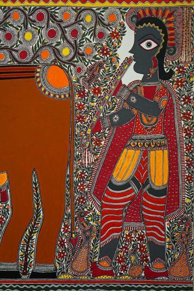 スカイツリーを見上げながら40年振りの「たばこと塩の博物館」でミティラー美術館展のインドコスモロジーアートに感動する。