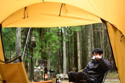 天川村で雨キャンプ