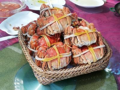 陽澄湖蓮花島で上海蟹