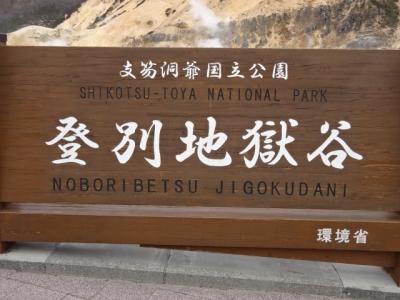 2021年北海道紀行、4、登別地獄谷、天然足湯、大湯沼を歩く